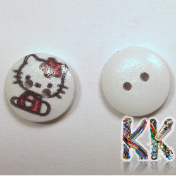 Dřevěný knoflík - s potiskem - ∅ 15 x 4 mm - Hello kitty