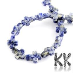 Přírodní modrý jaspis - kříž - 16-17 x 12-13 x 4-6 mm