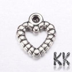 Přívěsek ze zinkové slitiny srdce - 9,5 x 11 mm