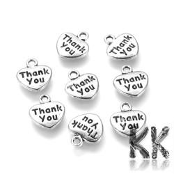 Přívěsek ze zinkové slitiny srdce thank you - 12 x 11 x 2 mm