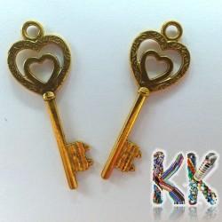 Přívěsek klíč - se srdcem - 18 x 50 mm