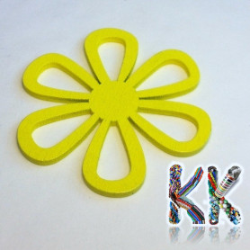 Dřevěný přívěsek - květinka - ∅ 50 x 2 mm