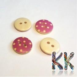 Dřevěný knoflík - s puntíky - ∅ 15 x 4 mm