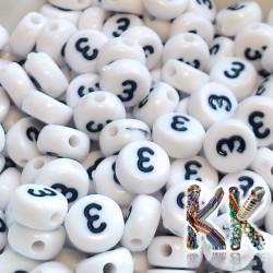 Korálky s čísly - bílé lentilky s černým textem - ∅ 7 x 4 mm