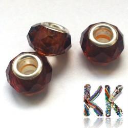 Korálek s širokým průvlekem - broušená rondelka - ∅ 14 x 8 mm