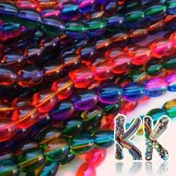 Sprejované korálky - průhledné - dvojbarevné - 9 x 6 mm