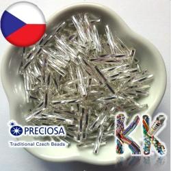 Preciosa Čípky - průhledné kroucené se stříbrnou linkou - ∅ 2,1 x 15 mm