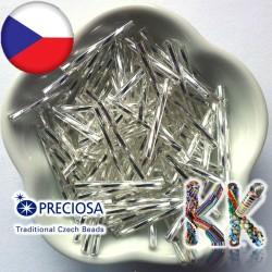 Preciosa Čípky - průhledné kroucené se stříbrnou linkou - ∅ 2,1 x 25 mm