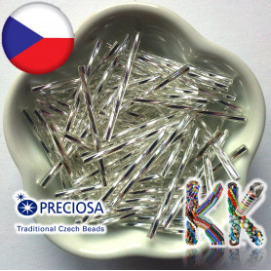 Preciosa Čípky - 35 mm - průhledné kroucené se stříbrnou linkou