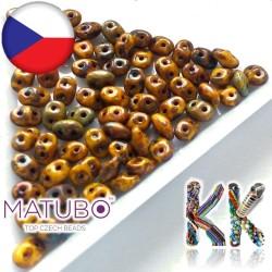 MATUBO™ SUPERDUO - travertinový dekor - 2,5 x 5 mm